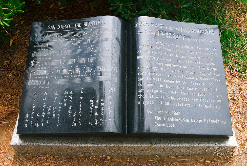 Yokohama-San Diego sister city plaque at the Japanese Friendship Garden in Balboa Park, San Diego, California