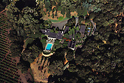 Aerial of Phillips home, St Helena, California, USA. Gardens designed by Thomas Church. USA.