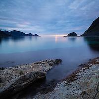 Rocky coastline at low tide, near Haukland Beach, Vestvågøya, Lofoten Islands, Norway