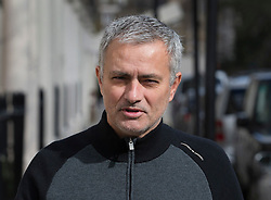 © Licensed to London News Pictures. 07/03/2016. London, UK.  Former Chelsea football club manager JOSE MOURINHO is seen walking near his London home.  Former Chelsea team doctor EVA CARNEIRO is today appearing at Croydon Employment Tribunal where a hearing is taking place to discuss her constructive dismissal case against Chelsea FC. Carneiro left Chelsea Football Club following an on pitch row with former manager Jose Mourinho in August 2015  Photo credit: Peter Macdiarmid/LNP