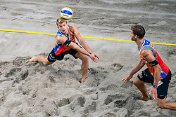 Marco Krattiger SUI, Florian Breer SUI (L) in action during the last day of the beach volleyball event King of the Court at Jaarbeursplein on September 12, 2020 in Utrecht.