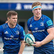 DUBLIN, IRELAND:  October 9:   Luke McGrath #9 of Leinster and Dan Leavy #6 of Leinster during the Leinster V Zebre, United Rugby Championship match at RDS Arena on October 9th, 2021 in Dublin, Ireland. (Photo by Tim Clayton/Corbis via Getty Images)