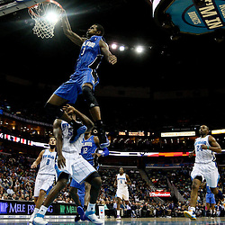 January 27, 2012; New Orleans, LA, USA; Orlando Magic forward Earl Clark (3) misses a dunk against the New Orleans Hornets during the fourth quarter of a game at the New Orleans Arena. The Hornets defeated the Magic 93-67.  Mandatory Credit: Derick E. Hingle-US PRESSWIRE
