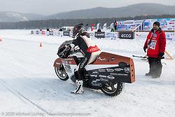 French custom bike builder Bertrand Dubet making a qualifying run on his partially streamlined Aprilia RSV4 racer at the Baikal Mile Ice Speed Festival. Maksimiha, Siberia, Russia. Thursday, February 27, 2020. Photography ©2020 Michael Lichter.