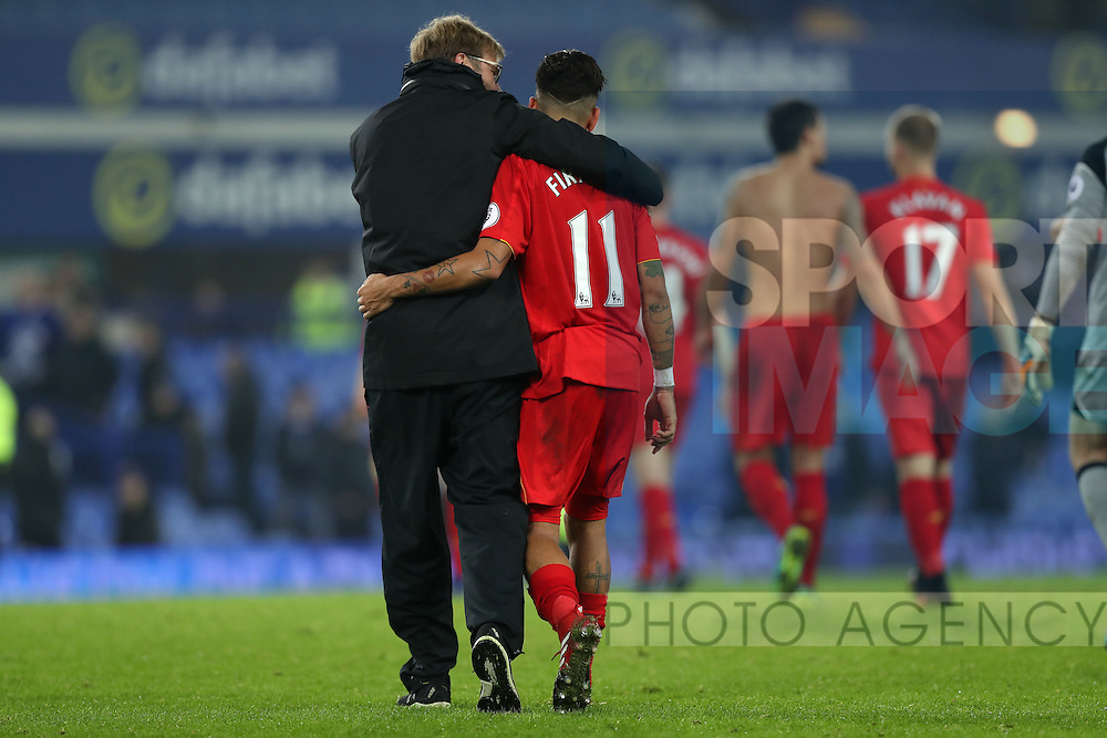 Jurgen Klopp manager of Liverpool  and Roberto Firmino of Liverpool after the English Premier League match at Goodison Park, Liverpool. Picture date: December 19th, 2016. Photo credit should read: Lynne Cameron/Sportimage