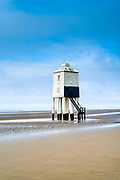 The Low Lighthouse - wooden structure built on stilts in 19th Century overlooking the Bristol Channel at Burnham-on-Sea, Somerset, UK