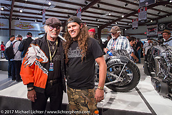 Willie G Davidson and custom builder Brad Gregory at the Old Iron - Young Blood exhibition media and industry reception in the Motorcycles as Art gallery at the Buffalo Chip during the annual Sturgis Black Hills Motorcycle Rally. Sturgis, SD. USA. Sunday August 6, 2017. Photography ©2017 Michael Lichter.