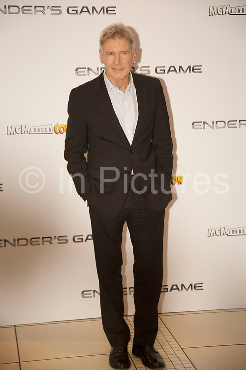 London, UK. Monday 7th October 2013. Harrison Ford. Press call for Ender's Game, an epic adventure based on the best-selling, award winning novel. Written and directed by Academy Award winner Gavin Hood.