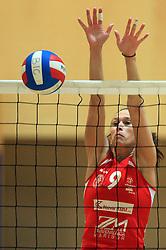 Sonja Borovinsek (9) of OK Branik at semifinal of 1st DOL volleyball match between OK Sloving Vital, Ljubljana and OK Nova KBM Branik, Maribor played in BIC center, on April 1, 2009, in Ljubljana, Slovenia. Nova KBM Branik won 3:1. (Photo by Vid Ponikvar / Sportida)