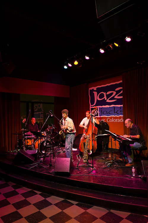 Saxophonist Nelson Rangell and his jazz quartet perform at Jazz at Jack's, 16th Street Mall, Downtown Denver, Colorado USA