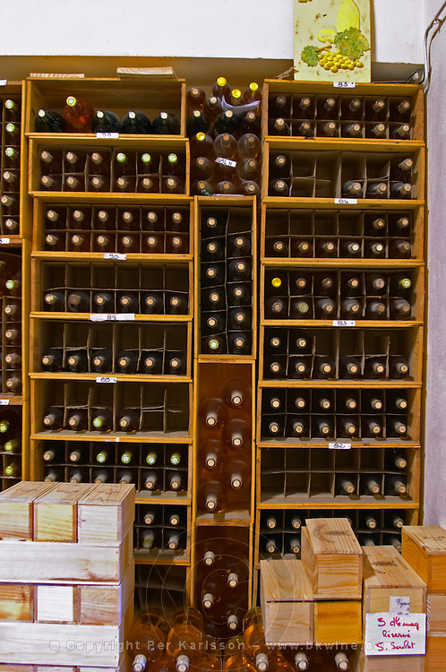 A private corner in the wine cellar with the personal collection of older vintages - Chateau Haut Bergeron, Sauternes, Bordeaux