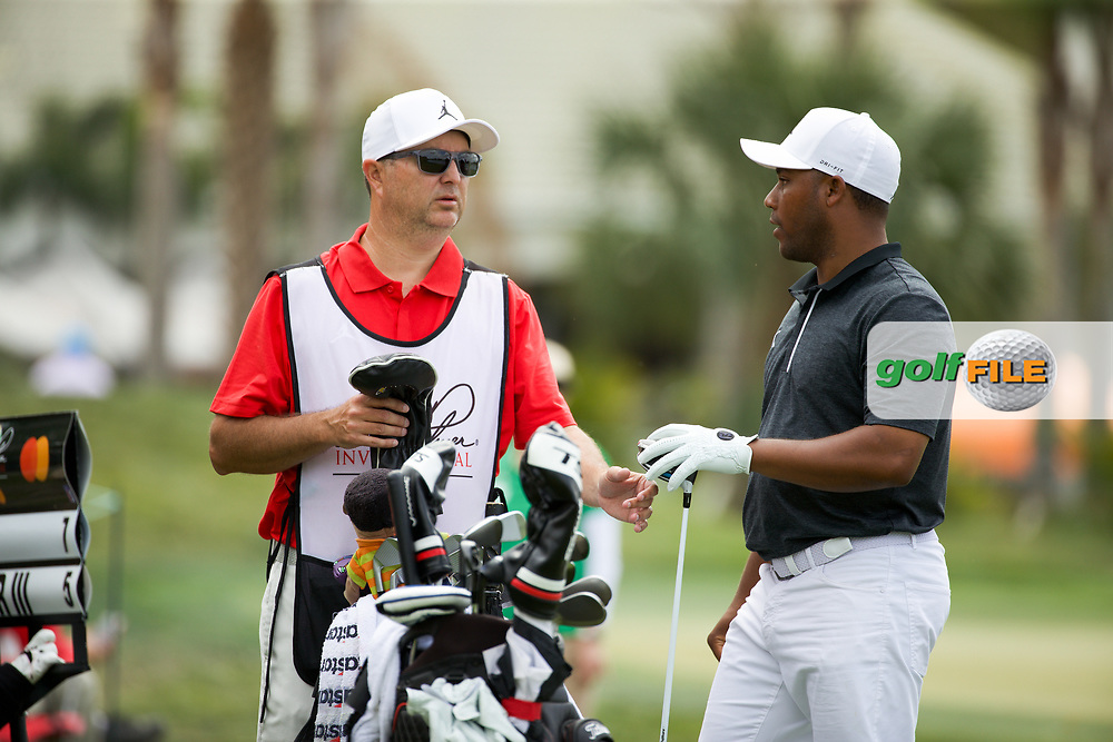 Harold Varner III (USA) and caddy Ray Farnell during the final round of the Arnold Palmer Invitational presented by Mastercard, Bay Hill, Orlando, Florida, USA. 08/03/2020.<br /> Picture: Golffile | Scott Halleran<br /> <br /> <br /> All photo usage must carry mandatory copyright credit (© Golffile | Scott Halleran)