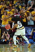 March 18, 2016; Tempe, Ariz;  New Mexico State Aggies guard Moriah Mack (35) guards Arizona State Sun Devils guard Elisha Davis (23) during a game between No. 2 Arizona State Sun Devils and No. 15 New Mexico State Aggies in the first round of the 2016 NCAA Division I Women's Basketball Championship in Tempe, Ariz. The Sun Devils defeated the Aggies 74-52.