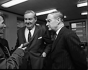 James Callaghan Visits Dublin..1971..05.02.1971..02.05.1971..5th February 1971..While in Dublin to meet the Taoiseach, Mr Jack Lynch TD,the former British Home Secretary, James Callaghan paid a courtesy call on the leader of the opposition Mr Liam Cosgrave TD..Picture shows Mr Liam Cosgrave TD, Fine Gael, leader of the Dail opposition and Mr James Callaghan MP,Former British Home Secretary, being interviewed by a member of the press during the courtesy call at Leinster House,Dublin.