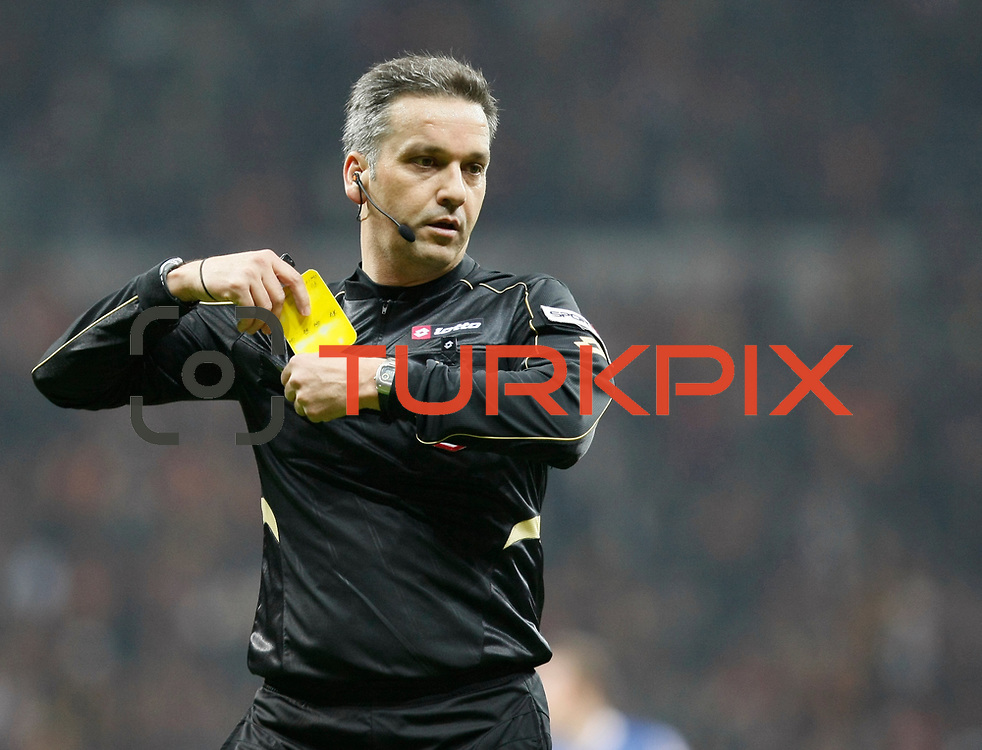 Referee's Mustafa Kamil Abitoglu during their Turkish Super League soccer match Galatasaray between Kardemir Karabukspor at the Turk Telekom Arena at Seyrantepe in Istanbul Turkey on Saturday 14 January 2012. Photo by TURKPIX