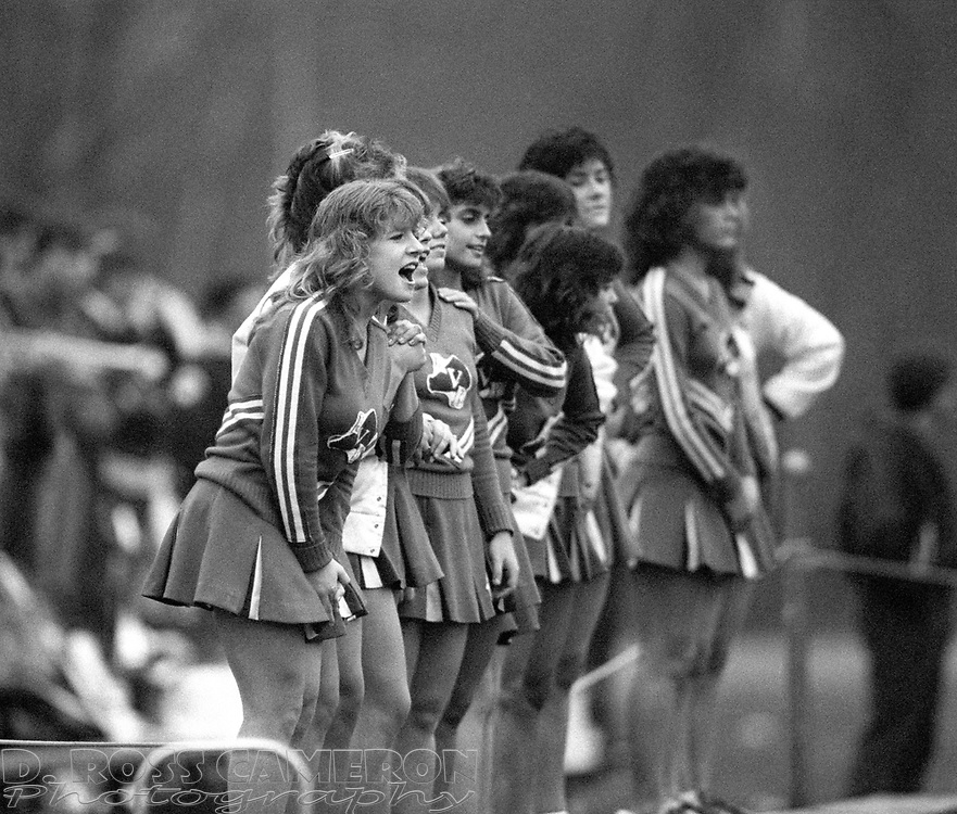 Unidentified Lenape Valley cheerleaders urge on their team against Jefferson during a high school football game, Saturday, Nov. 8, 1986, in Jefferson, N.J. (D. Ross Cameron/North Jersey Advance)