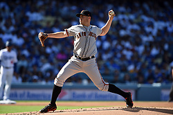 March 29, 2018 - Los Angeles, CA, U.S. - LOS ANGELES, CA - MARCH 29: San Francisco Giants Pitcher Ty Blach (50) throws a pitch during the MLB opening day game between the San Francisco Giants and the Los Angeles Dodgers on March 29, 2018 at Dodger Stadium in Los Angeles, CA. (Photo by Chris Williams/Icon Sportswire) (Credit Image: © Chris Williams/Icon SMI via ZUMA Press)