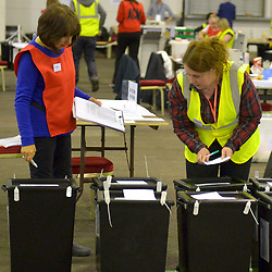SCOTTISH PARLIAMENTARY ELECTION 2016 – Counting Agents checking the ballot boxes during the vote counting at Royal Highland Centre, Edinburgh<br />(c) Brian Anderson   Edinburgh Elite media