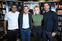 """© Licensed to London News Pictures . 09/07/2016 . Manchester , UK . Actor JAMIE LOMAS , boxer JAMIE MOORE , actress KATIE MCGLYNN and actor ANTHONY QUINLAN at a book signing for Jamie Moore 's book """" Mooresy """" at Waterstones on Deansgate in Manchester City Centre . Photo credit : Joel Goodman/LNP"""
