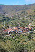 Looking down on rooftops of nucleated village Garganta la Olla, La Vera, Extremadura, Spain
