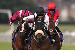 Judicial ridden by Graham Lee (centre) wins The British EBF Conditions Stakes at Beverley Racecourse.