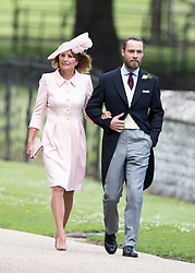ENGLEFIELD- UK -20th May 2017: ..Pippa Middleton Wedding..The wedding of Pippa Middleton, sister of Kate, Duchess of Cambridge takes place at St Mark's Church Englefield in Berkshire..Pippa marries James Matthews. Present at the ceremony were her sister, Kate with Prince William and Prince Harry. Prince George and Princess Charlotte were pageboy and bridesmaids...Photo Shows: Mother Carol and Pippa's brother James.©Ian Jones/Exclusivepix Media (Credit Image: © Exclusivepix media via ZUMA Press)
