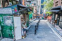 Central, Hong Kong, China- June 4, 2014: people walking in a pedestrian street at Soho