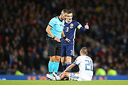 Scotland defender Andrew Robertson (3) (Liverpool) lets Aleksey Ionov of Russia (20) (Rostov) know what he thinks of the Russians time wasting  during the UEFA European 2020 Qualifier match between Scotland and Russia at Hampden Park, Glasgow, United Kingdom on 6 September 2019.