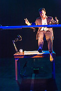 Thaddeus Phillips (creator/designer/performer) in the New York premiere of 17 Border Crossings at the Brooklyn Academy of Music's Fishman Space in the Fisher Theater. Tatiana Mallarino director; Patrick Kealey, dramaturg; Spencer Sheridan, Production Manager; Robert Klapowitz, sound design; Alessandra Calabi, production stage manager; David Todaro, lighting engineer.