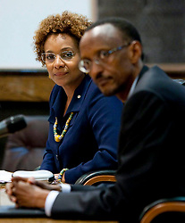 Governor General Michaelle Jean, left, and Rwandan President Paul Kagame take part in a press statement at the Urugwiro Village in Kigali, Rwanda, on Wednesday April 21, 2010. Jean officially apologized for Canada inactions regarding the Rwandan genocide.  (Credit Image: © The Canadian Press/ZUMAPRESS.com)
