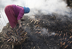 December 18, 2018 - Srinagar, Kashmir - A Kashmiri woman collects smoked fish in the outskirts of Srinagar city, the summer capital of Indian-controlled Kashmir. Smoked fish, locally called 'Fahre', are highly demanded during winters in Indian-controlled Kashmir. (Credit Image: © Javed Dar/Xinhua via ZUMA Wire)