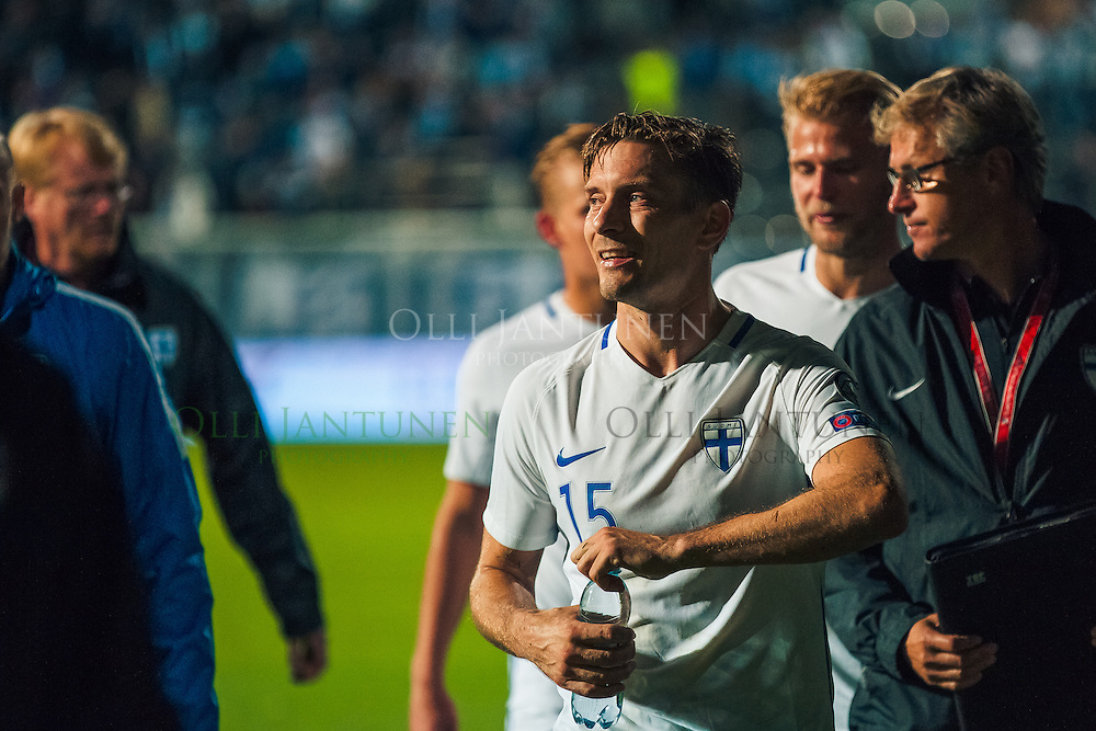 Suomen Markus Halsti MM2018-karsintaottelun Suomi - Kosovo jälkeen. Veritas stadion, Turku, Suomi. 5.9.2016.