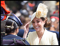 June 8, 2019 - London, London, United Kingdom - Image licensed to i-Images Picture Agency. 08/06/2019. London, United Kingdom. The Duchess of Cambridge and  Meghan Markle, the Duchess of Sussex at Trooping the Colour in London. (Credit Image: © Stephen Lock/i-Images via ZUMA Press)