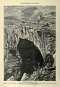 Wood engraving of The natural bridge, Lebanon. It is called in Arabic Jisr el Hajr (The Bridge of Stone). It spans the chasm through which flows the Neb'a el Lebban (Fountain of Milk), one of the sources of the Nahr el Kelb (the Dog River). from 'Picturesque Palestine, Sinai and Egypt' by Wilson, Charles William, Sir, 1836-1905; Lane-Poole, Stanley, 1854-1931 Volume 3. Published in by J. S. Virtue and Co 1883