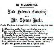 Phoenix Park Murders, Dublin, 6 May 1882.  Memorial notice to Lord Frederick Cavendish, Chief Secretary for Ireland, and Thomas Burke, Under Secretary. From 'Punch, 20 May 1882.