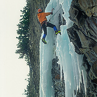 """Doug Chabot climbs """"Come & Get It,"""" an extreme icicle in Hyalite Canyon, near Bozeman, Montana."""