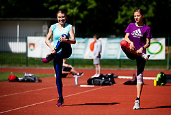 Athletes Marusa Mismas Zrimsek and Klara Lukan during practice session after loosening coronavirus COVID-19 restriction, on May 3, 2020 in Stadion Kodeljevo, Ljubljana, Slovenia. Photo by Vid Ponikvar / Sportida