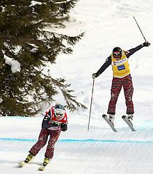 29.01.2011, Grasgehren Lifte, Grasgehren, GER, FIS Skicross World Cup, Grasgehren, im Bild Andrea LIMBACHER (AUT) und Katrin OFNER (AUT) beim Zielsprung // Andrea LIMBACHER (AUT) and Katrin OFNER (AUT) during the finishing jump during FIS Skicross World Cup in Grasgehren, Germany, EXPA Pictures © 2011, PhotoCredit: EXPA/ S. Kiesewetter