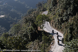 Our group navigates windy roads on day-2 of our Himalayan Heroes adventure riding from Daman to Chitwan, Nepal. Wednesday, November 7, 2018. Photography ©2018 Michael Lichter.