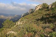 View of limestone scenery Mirador del Xap viewpoint, Vall de Gallinera, Marina Alta, Alicante province, Spain