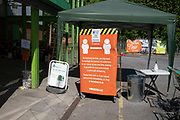 Social distancing queue and sanitising area at the home and outdoor store Homebase garden centre under Coronavirus lockdown on 21st May 2020 in Birmingham, England, United Kingdom. DIY shops have been allowed to be open for the last few days and flocks of people have queued at them to buy home and garden goods. Coronavirus or Covid-19 is a new respiratory illness that has not previously been seen in humans. While much or Europe has been placed into lockdown, the UK government has put in place more stringent rules as part of their long term strategy, and in particular social distancing.