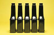 row of black bottles