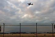A Lockheed P-3C Orion Maritime reconnaissance aircraft with the Japanese Self Defence  Force (JSDF) taking off from Naval Air Facility, Atsugi near Yamato, Kanagawa, Japan, Wednesday February 13th 2019