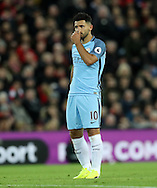 Sergio Aguero of Manchester City reacts during the English Premier League match at Anfield Stadium, Liverpool. Picture date: December 31st, 2016. Photo credit should read: Lynne Cameron/Sportimage