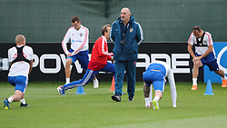 MOSCOW, July 4, 2018  Russia's head coach Stanislav Cherchesov (C) attends a training session in Moscow, Russia, on July 4, 2018. Russia will face Croatia in a quarter-final match of the 2018 FIFA World Cup on July 7. (Credit Image: © Bai Xueqi/Xinhua via ZUMA Wire)