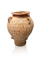 Minoan vase decorated with circle motif , Poros-Heraklion 1700-1450 BC,  Heraklion Archaeological  Museum , white background .<br /> <br /> If you prefer to buy from our ALAMY PHOTO LIBRARY  Collection visit : https://www.alamy.com/portfolio/paul-williams-funkystock/minoan-art-artefacts.html . Type -   Heraklion   - into the LOWER SEARCH WITHIN GALLERY box. Refine search by adding background colour, place, museum etc<br /> <br /> Visit our MINOAN ART PHOTO COLLECTIONS for more photos to download  as wall art prints https://funkystock.photoshelter.com/gallery-collection/Ancient-Minoans-Art-Artefacts-Antiquities-Historic-Places-Pictures-Images-of/C0000ricT2SU_M9w