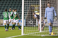 GOAL 2-1Kevin Nisbet (Hibernian) is congratulated by teammates after his goal during the Betfred Scottish League Cup match between Hibernian and Dundee at Easter Road, Edinburgh, Scotland on 15 November 2020.