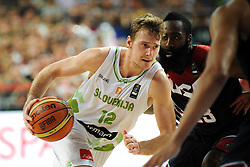 Zoran Dragic of Slovenia vs James Harden of USA during basketball match between National Teams of Slovenia and USA in Quarterfinals of FIBA Basketball World Cup Spain 2014, on September 9, 2014 in Palau Sant Jordi, Barcelona, Spain. Photo by Tom Luksys  / Sportida.com <br /> ONLY FOR Slovenia, France