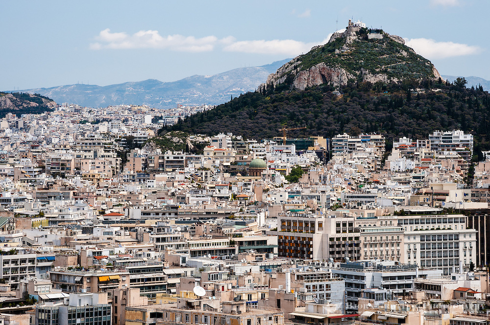 Greece, Athens. View of Athens from the famous Acropolis. Mount Lycabettus is the highest point in the city.