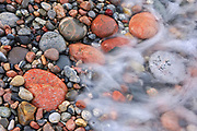 Waves crashing on rocks at Pebble Beach<br />Marathon<br />Ontario<br />Canada